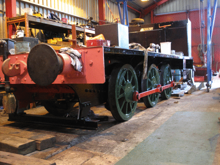 frames down on wheels, with side rods fitted