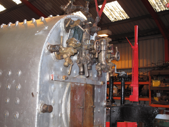 boiler backhead with fittings in place