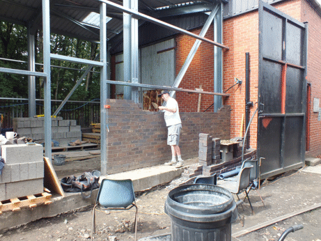 bricklaying in progress