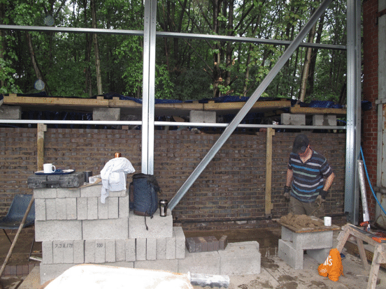 bricklaying on the west wall