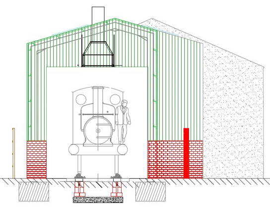 south elevation of Running Shed
