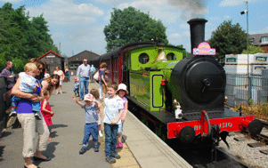 visitors enjoying a train ride