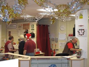 shop staff during a Santa specail day